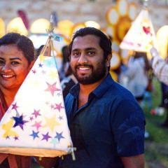 UQ Students enjoying lantern making at UQ during BLOOM festival