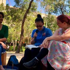 UQ students listening to poetry reading